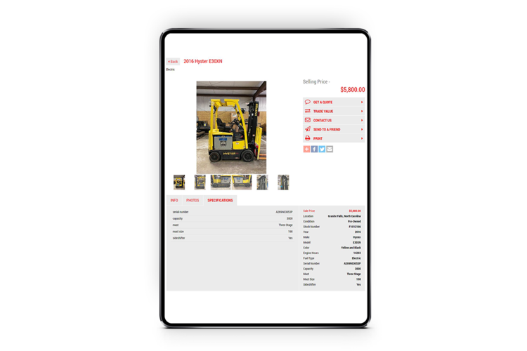 Inventory management - Enter the make and model and we fill in the rest.Easy, fill-in-the blank tabs that allow you to create professional listings in minutes, no technological experience needed.Standard specifications readily available—just enter the make and model of the unit.No double-entry—create a listing once and upload it to your website, eliftrucks.com, Craigslist, Ebay, and more.Highlight specific features on any unit using image overlay text. Embed a YouTube walk around video to give an all-encompassing viewing experience on any unit. Tag your inventory as either 'Featured' or 'Clearance' to draw more attention and online traffic to it.